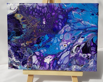 Blue and Purple fluid acrylic small canvas on stand