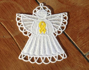 Embroidered Ornament - Christmas - Bladder/Saroma/Bone Cancer Angel - Yellow Ribbon