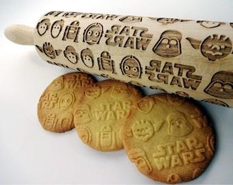 STAR WARS Embossing Rolling Pin. Star Wars. Yoda. Luke Skywalker. Han Solo. Leia Organa.Laser engraved rolling pin with Star Wars pattern