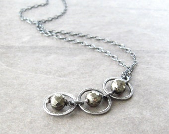 pyrite necklace, oxidized silver necklace, metalwork silver pendant, sterling chain, three ring necklace