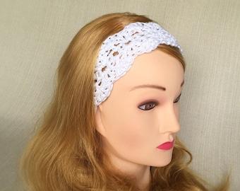White crochet headband Workout Yoga headband Crochet Boho headband Adjustable Womens head band Lace Hippie headband Ladies Crochet hair band