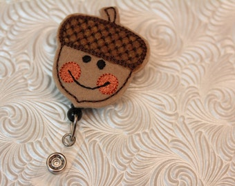 adorable acorn  - felt badge reel - nurse  badge holder - retractable - badge reel - name badge holder - badge clip - ID holder