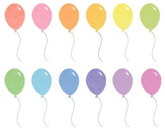 12 Watercolor Cliparts, Baloons Clipart, Watercolor Baloons, Handpainted Clipart