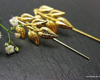 Art deco earrings, gold, gold leaves with fine gold earrings