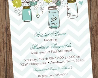 Vintage Shabby Chic French Country Mason Jar Shower Baby Bridal Wedding Invitation - 1.00 each with envelope