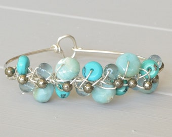 Turquoise Bracelet, Stone Cuff Bracelet, Blue Stone Bracelet, Stackable Bracelets, Gift For Mom