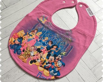 Disney Baby Bib, Disney Characters Recycled T-Shirt Bib, Disney Baby Shower, Disney Baby, Mickey Mouse, Disney Princess, Winnie the Pooh