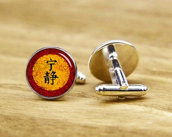 chinese character cufflinks, film fans, custom movie cufflinks, custom wedding cufflinks, round, square cufflinks, tie clip or matching set
