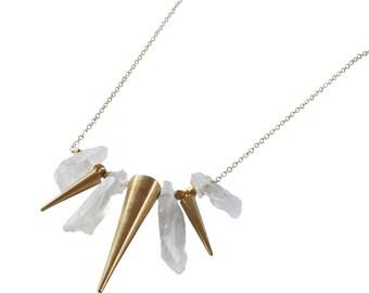 Quartz Spike Beaded Statement Necklace; Spike Necklace; Gemstone Necklace; Gemstone Spike Necklace; Quartz Necklace; Statement Necklace