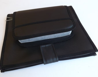JW Ministry organizer with attached Bible cover in Black Faux Leather Vinyl
