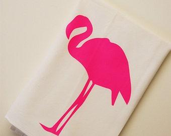 Pink Flamingo torchon, serviette sac farine flamant rose, cadeau pour Cook, sérigraphié à la main