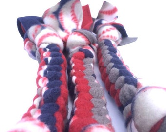 Baseball Braided Dog Pull Toy - strong chew toy, tough chew dog toy, fleece dog toy