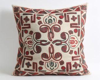 Suzani Cushion Cover - Organic Modern Bohemian Throw Pillow, Decorative Pillow, Throw Pillow, Hand Embroidery Pillow, housewarming gift