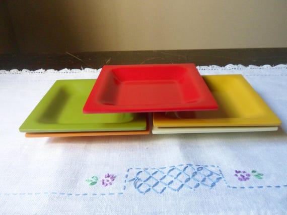 Five Small Multi Colored Dishes Melamine Plastic Dinnerware Small Square Plates & Five Small Multi Colored Dishes Melamine Plastic Dinnerware
