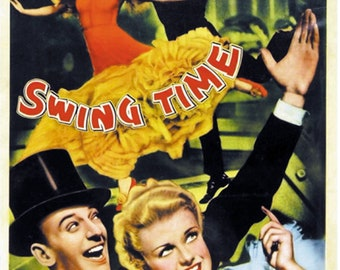 Swing time 1936 Ginger Rogers Fred Astaire movie poster reprint 19x12.5 inches