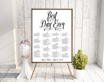 Wedding Seating Chart, Best Day Ever Seating Chart, Calligraphy Seating Chart, Seating Poster, Rehearsal Dinner Seating Chart, Printable