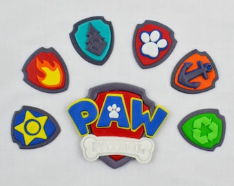 Edible Paw Patrol Inspired Cake toppers set with Shield, Badge and Logo, Paw Patrol Cupcake Toppers,  Paw Patrol Fondant
