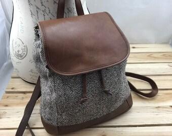 L.L. Bean cuir et sac à dos en laine / / sac à dos minimaliste / / sac à dos en cuir