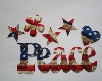 "Americana PEACE Iron On 8"" Stars Flower"