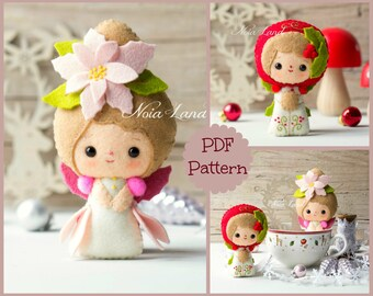 Christmas Poinsettia and Holly faeries. Cute Christmas (PDF Pattern)