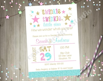 Twins Twinkle Twinkle Little Star Baby Shower Gender Reveal Coed Couples Baby Sprinkle Boy Girl Twins Aqua Pink Gold