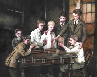 Blind Boys enquêter sur une peinture originale, modèle astronomique, Science, astronomie, histoire naturelle, au début du 20ème siècle, l'histoire, aveugle,