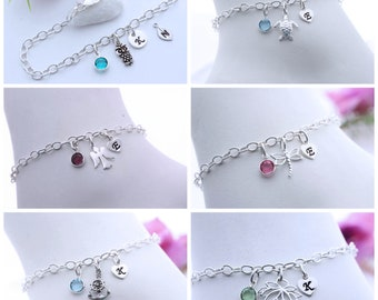 Sterling silver Anchor Bracelet. Personalized Bracelet, Custom Charms, silver Anchor Bracelet, Long lasting Strong chain. Anchor Jewelry