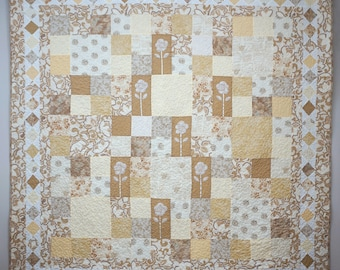 Beige Patchwork Quilt, Queen Size Quilt, Quilted Bed Cover, Calm and Romantic Quilt