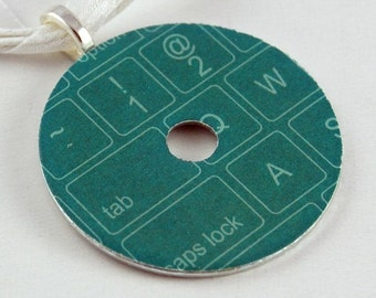 Handmade Upcycled Washer Necklace - Keyboard