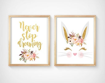 Gold Bunny Face Print Nursery Printable Art Bunny Children's Decor Bunny Boho Gold Pink Bunny Wall Art Bunny Baby girl room decor Gold bunny