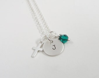 Personalized Cross Necklace - Dainty Sterling Silver Initial necklace with Swarovski Crystal Birthstone - Hand Stamped Personalized Jewelry