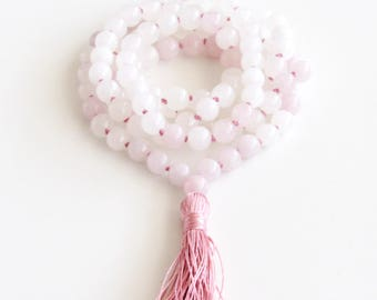 Jade Mala Necklace ~ Rose Quartz and White Jade Mala Yoga Necklace Tassel Necklace Meditation Necklace Valentine Gift