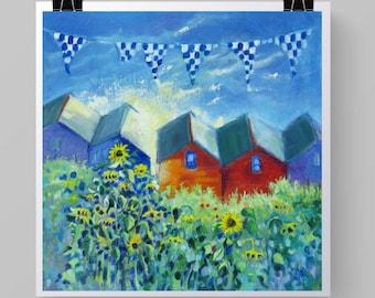 """Seaside Art Print """"Beach Huts with Sunflowers and Flags."""" from Original Coastal Painting. Colourful Beach Art. 8"""" x 8"""" or 11"""" x 11""""."""