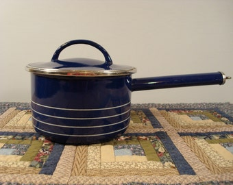 Nice blue vintage Copco sauce pan with lid
