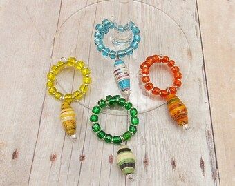 Paper Bead Wine Glass Charms Set of 4 - Citrus Colors - Orange, Yellow, Green, Aqua Blue