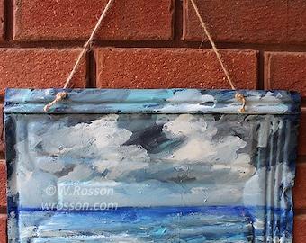 Seascape, Original Painting, Ocean, Storm, Clouds, Beach House, Beach, Sea, Home Decor, Garden, Patio, Porch, Outdoor Art, Winjimir, Gift