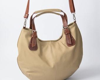 Leather HOBO Bag, Leather Shoulder Bag, Cross Body Handbag, Large Hobo, Leather Purse, Everyday Shopper Bag, Leather Bag, Gift, Beige Hobo