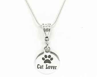 Cat Lover Pendant Silver Necklace, Cat Mom Gift, Gift For Her, New Cat Owner Gift, Gift For Cat Mom, Pet Lover Gift Necklace, New Cat Owner