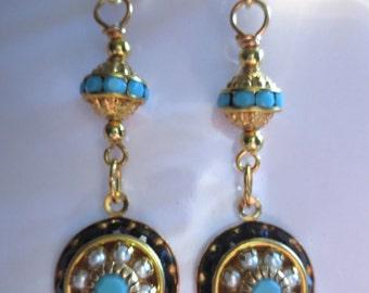 Art Deco earrings Art Nouveau earrings Edwardian earrings pearl drop earrings black turquoise vintage wedding earrings Victorian earrings