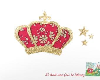 Appliqué thermocollant Couronne médiévale en liberty Capel rouge & flex pailleté doré