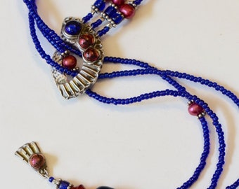 Fine Silver PMC Electric Blue/Purple Lariat with Dichroic Glass and Genuine Fresh Water Pearls, FREE Matching Earrings
