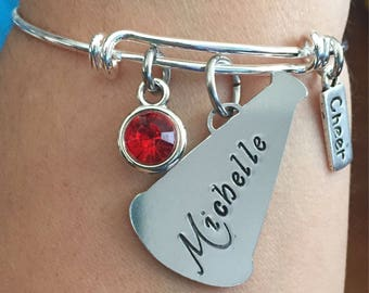 Cheer personalized bracelet-megaphone personalized bracelet-cheerleader bracelet