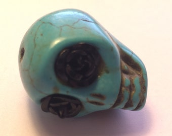 Super Large Sugar Skull Bead 30 MM Skull With Black Rose Eyes