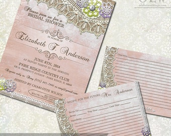 Rustic Bridal Shower Invitations and Recipe cards | Blush Pink with Lace Invitation | Rustic Country wedding invitation digital printable