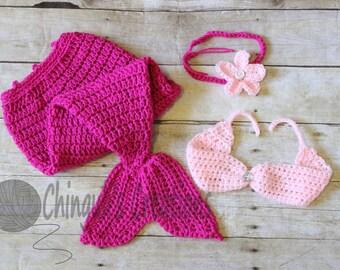 Crochet Mermaid Outfit Crochet Mermaid Set Crochet Mermaid Baby Girl Mermaid Baby Girl Mermaid photo props