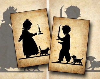 Digital Collage Victorian Girl Silhouette Boy Silhouette Printable Instant Download SIL100