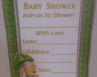 Duck Baby Shower Invitations-Set of 12 with envelopes 4x6