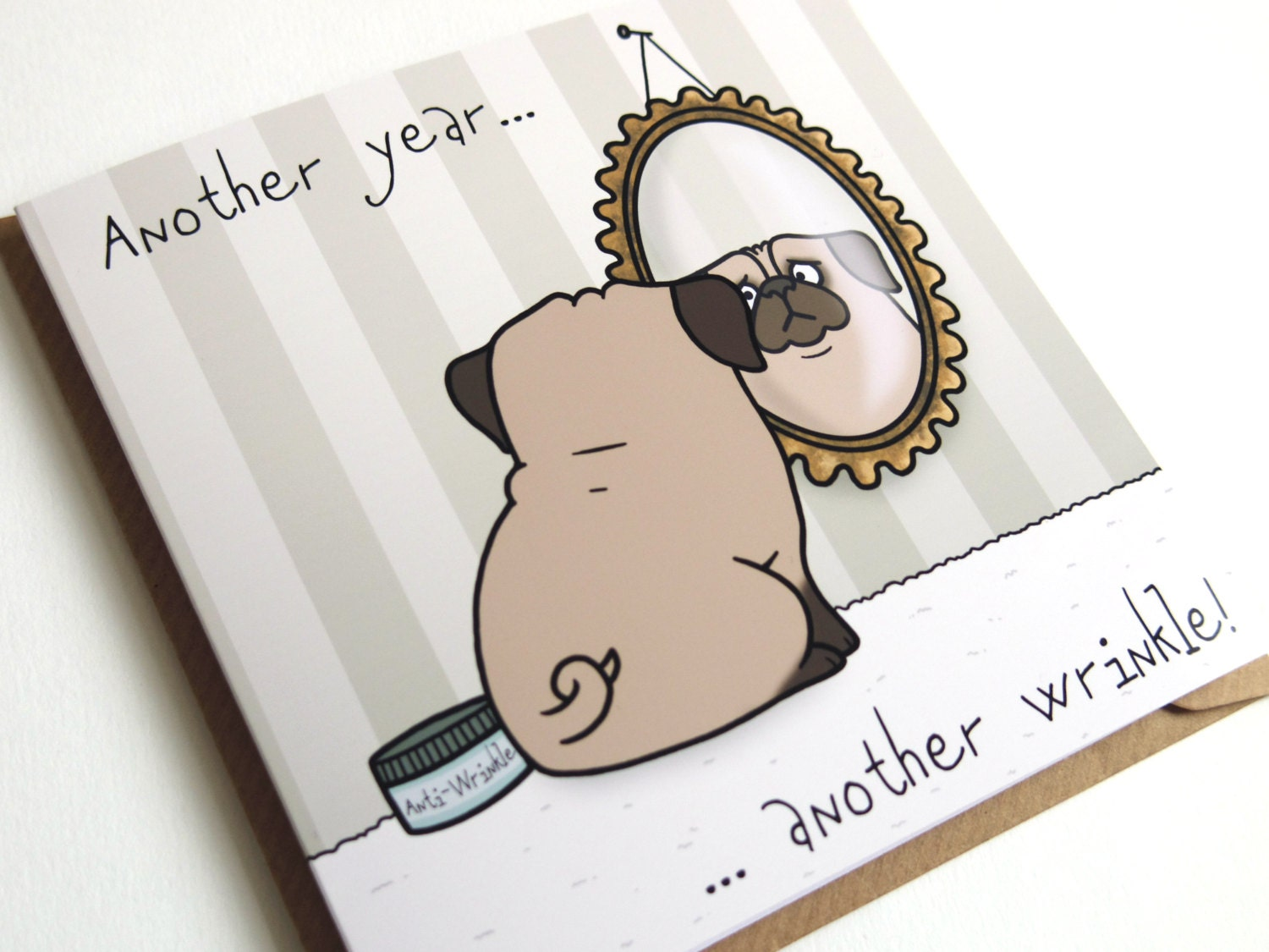 Birthday Cards Cartoon ~ Pug birthday greeting card birthday card pug card