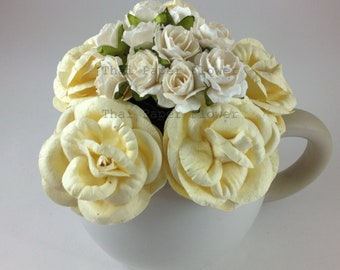 15 Mulberry Paper Flowers Scrapbook Craft Wedding Supply Card Making Roses White Cream BR1.147