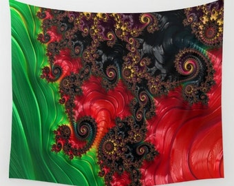 Oriental Abstract Wall Tapestry, Large Abstract Wall Art, Asian Style, Dorm, Office, Red Green, Modern Decor, Digital Art, Contemporary